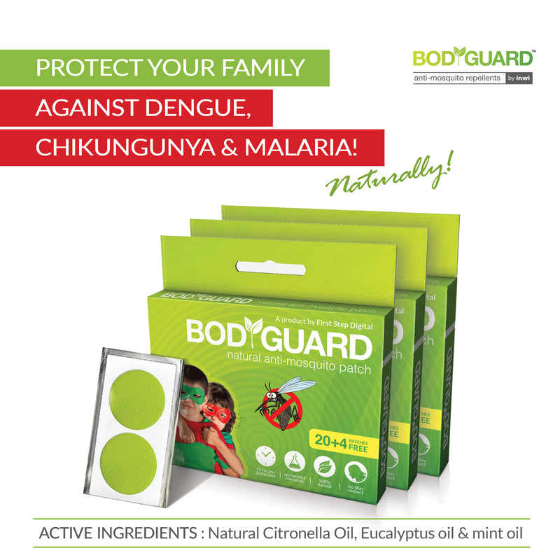 Bodyguard Premium Natural Anti Mosquito Patches - 60 + 12 Patches