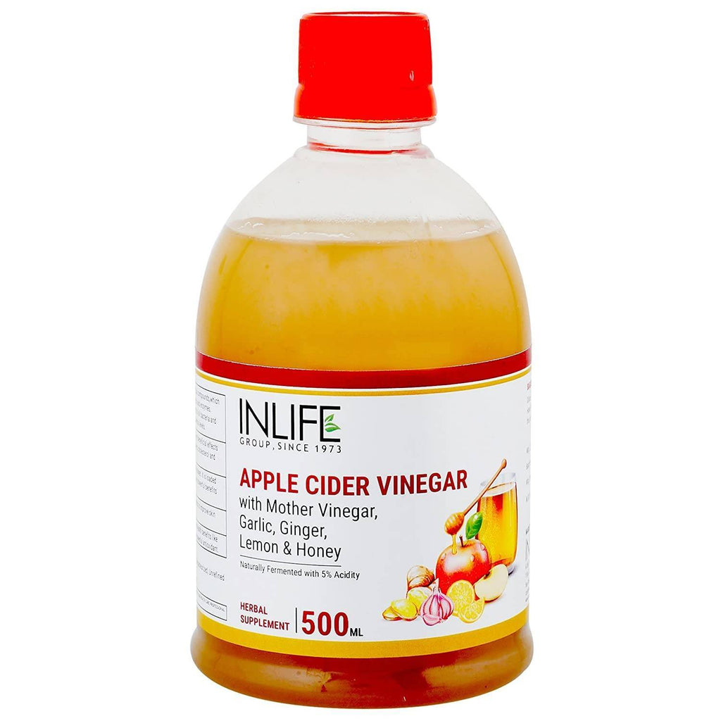 INLIFE Apple Cider Vinegar with Garlic Ginger Lemon Honey & Mother of Vinegar Raw Unfiltered Unpasteurized Health Supplement for Skin, Hair & Weight Management  500 ml