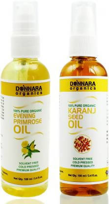 Donnara Organics 100% Pure Evening Primrose oil and Karanj oil Combo of 2 Bottles of 100 ml(200 ml) Hair Oil (200 ml)