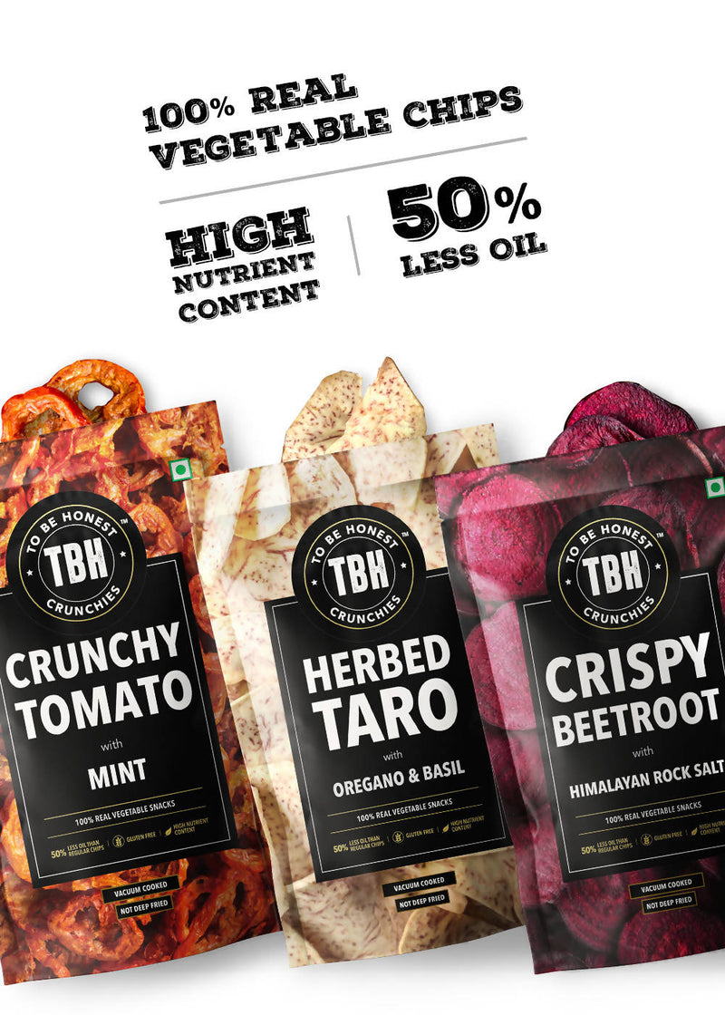 Beetroot, Tomato, Taro Chips - Pack of 3