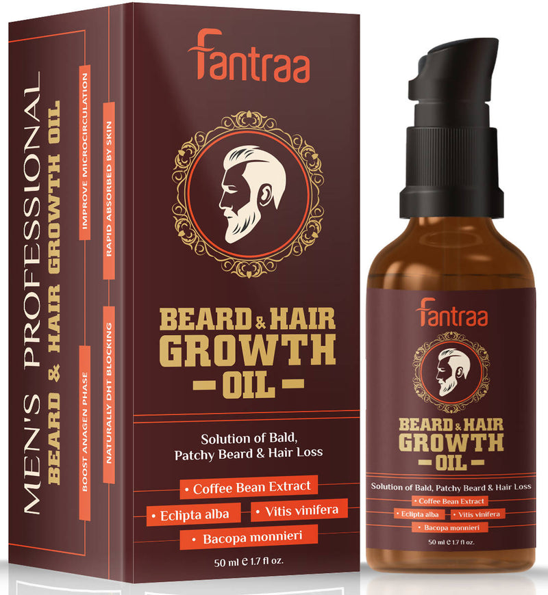 Fantraa Beard and Hair Growth Oil Enriched With Coffee Bean Extract - 50ml