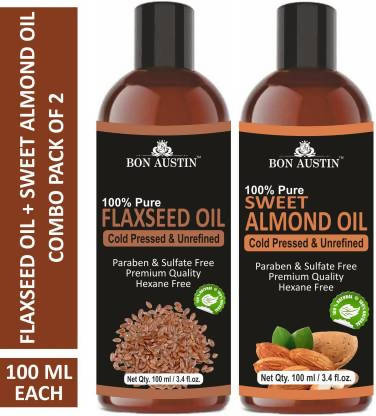 Bon Austin 100% Pure & Natural Flaxseed Oil & Sweet Almond Oil Combo pack of 2 bottles of 100 ml(200 ml) Hair Oil (200 ml)