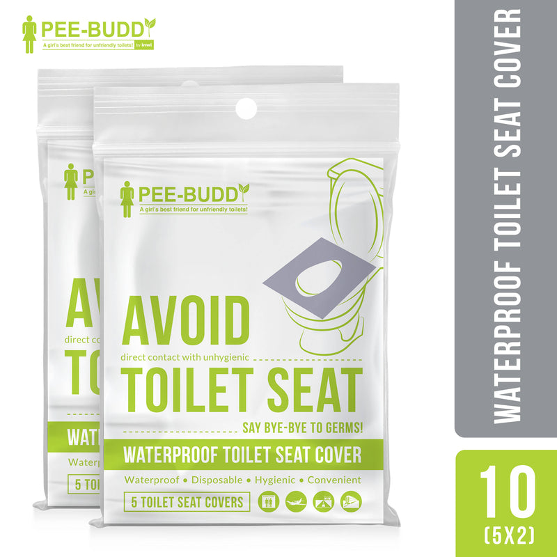 PeeBuddy - Waterproof Toilet Seat Cover - 10 Toilet Sheets (2 Pack - 5 Sheets Each)
