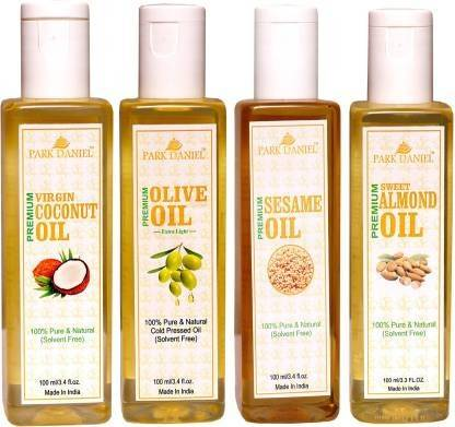 Park Daniel Premium Virgin Coconut oil, Olive Oil and Sesame oil and Sweet Almond oil Combo of 4 bottles of 100 ml(400ml) (400 ml)