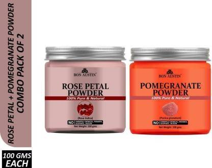 Bon Austin 100% Pure & Natural Rose petal Powder & Pomegranate Powder Combo Pack of 2 Jars of 100 gms(200 gms) (200 g)