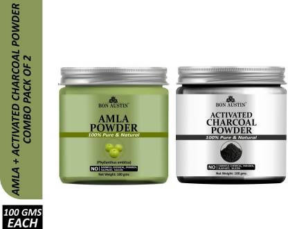 Bon Austin 100% Pure & Natural Amla Powder & Activated Charcoal Powder Combo Pack of 2 Jars of 100 gms(200 gms) (200 g)