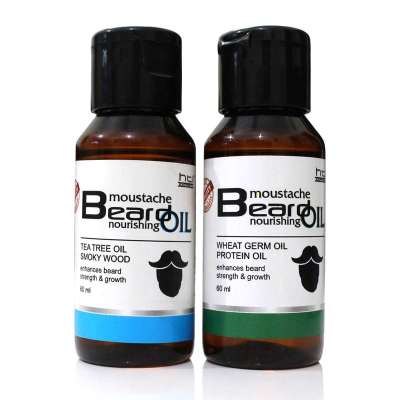 HTI EXPERTS Combo Pack of Tea Tree and Wheat Germ Beard Oil (60ml)