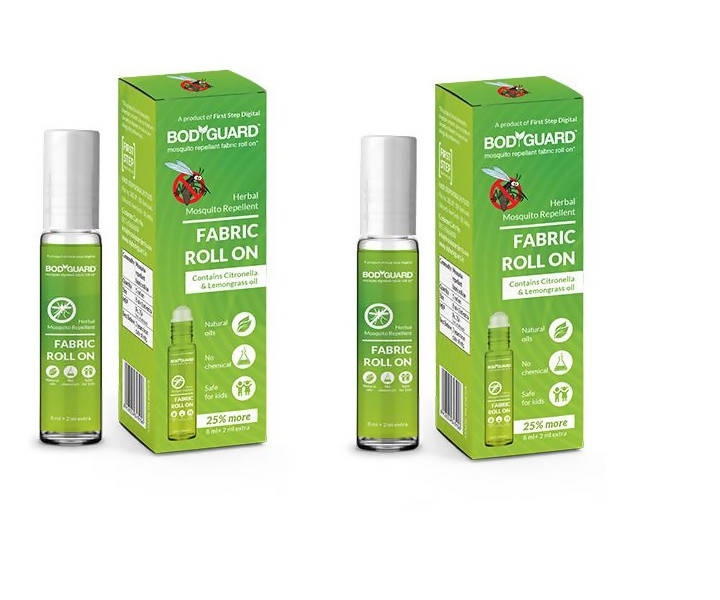 BodyGuard Herbal Fabric Roll On with Citronella and Lemongrass Oil - 8 ml + 2 ml Extra (Pack of 2)