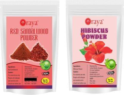 Oraya Red Sandalwood Powder & Hibiscus Powder-100gm-Packof-2-Pouch-COMBO- (200 g)