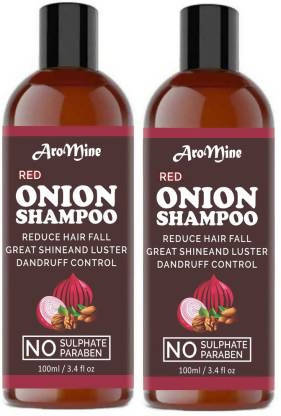 AroMine Premium RED ONION OIL Herbal Shampoo For Hair Growth Men & Women (300 ml)