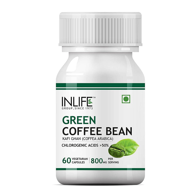 INLIFE Green Coffee Bean Extract (50% Chlorogenic Acid) 800mg per Serving, 60 Vegetarian Capsules