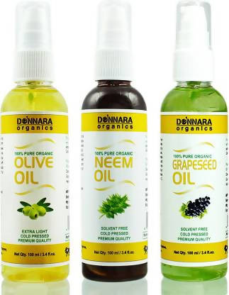 Donnara Organics Premium Olive oil, Neem oil & Grapeseed oil Combo pack of 3 bottles of 100ml(300 ml) Hair Oil (300 ml)