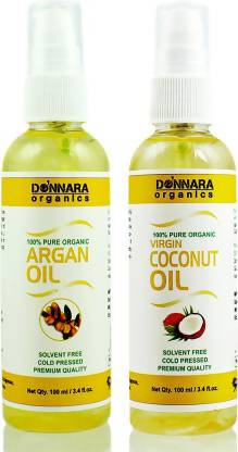 Donnara Organics 100% Pure Coconut oil and Argan oil Combo of 2 Bottles of 100 ml(200 ml) Hair Oil (200 ml)