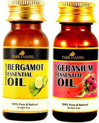 Park Daniel Pure and Natural Bergamot and Geranium Essential oil combo pack of 2 bottles of 30 ml(60 ml) Hair Oil (60 ml)