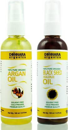 Donnara Organics 100% Pure Black seed(Kalonji) oil and Argan oil Combo of 2 Bottles of 100 ml(200 ml) Hair Oil (200 ml)