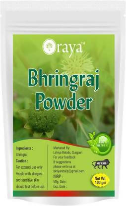 ORAYA 100% Natural Bhringraj Leaves Hair Powder | 100% Natural Herbal Powder |Organically Processed for Fighting Hair Fall -100g (100 g) (100 g)