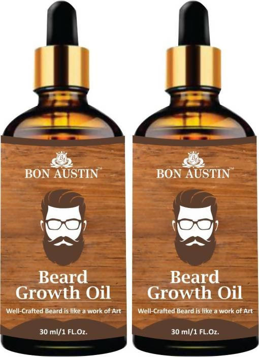 Bon Austin 100% Natural Beard Growth Oil- For Stimulating fast Beard Growth Combo pack of 2 Bottles of 30 ml(60 ml) Hair Oil (60 ml)