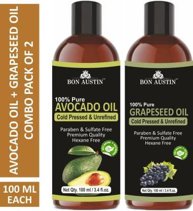 Bon Austin 100% Pure & Natural Avocado Oil & Grapeseed Oil Combo pack of 2 bottles of 100 ml(200 ml) Hair Oil (200 ml)