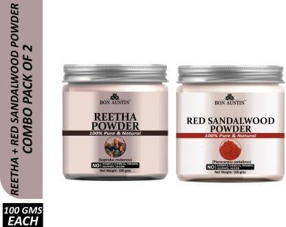 Bon Austin 100% Pure & Natural Reetha Powder & Red Sandalwood Powder Combo Pack of 2 Jars of 100 gms(200 gms) (200 g)