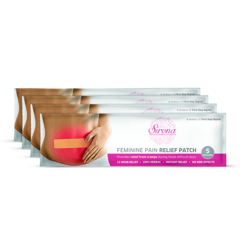 Sirona Feminine Pain Relief Patches - 20 Patches (4 Pack - 5 Patches Each)