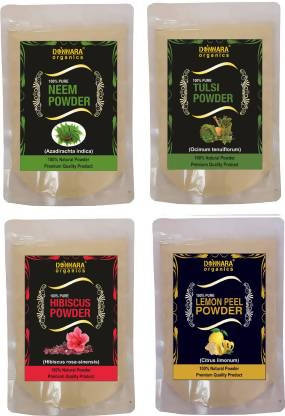 Donnara Organics Neem Powder,Tulsi Powder, Hibiscus powder & Lemon Peel (600 g)