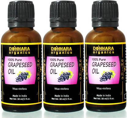 Donnara Organics 100% Pure & Natural Grapeseed oil Combo pack of 3 bottles of 30 ml(90 ml) Hair Oil (90 ml)