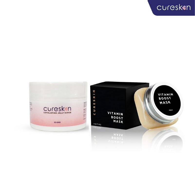 CureSkin Glow Kit (AHA Jelly Scrub + Vitamin C Boost Mask)