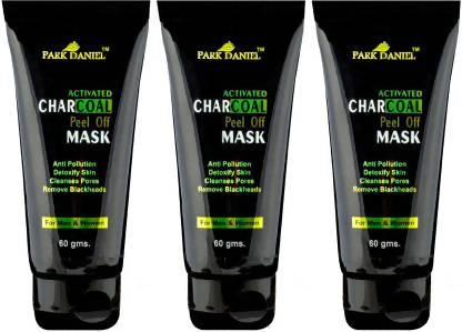 Park Daniel Activated Charcoal Peel off Mask Combo pack of 3 tubes of 60 g - For Black head removal, deep cleansing & Instant glow( 180 gms) (180 g)