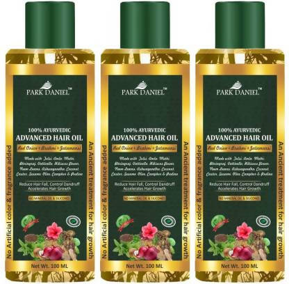 Park Daniel 100% Ayurvedic Advance Hair Oil- Enriched with Red Onion & other 20 Natural Oils -For Fast Hair Growth & to Reduce Hair Fall Combo pack of 3 Bottles of 100 ml(300 ml) Hair Oil (300 ml)