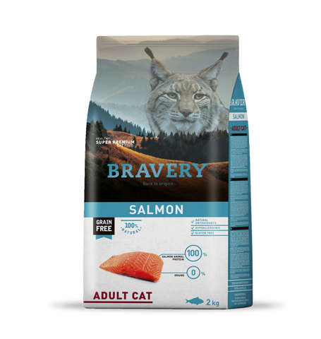 Bravery Grain Free Adult Cat Kibble Salmon 2kg