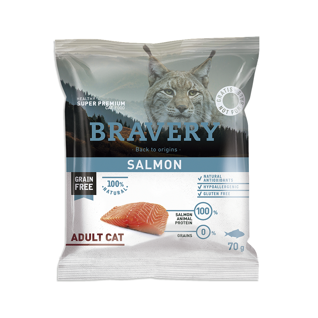 Bravery Grain Free Adult CAT Kibble SALMON - SAMPLE 70g