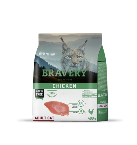Bravery Grain Free Adult Cat Kibble Chicken 400g