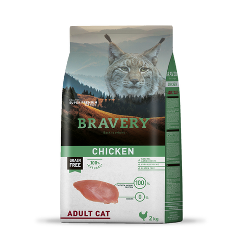 Bravery Grain Free Adult Cat Kibble Chicken 2kg