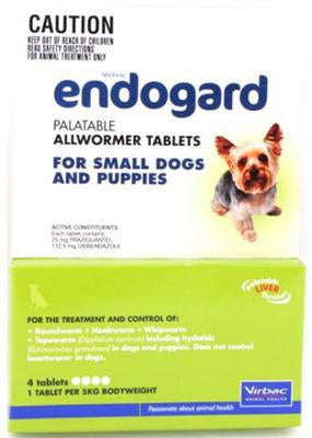 Endogard Small Dogs and Puppies (5kg) All-Wormer 4-tab Pack