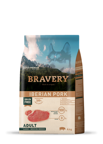 Bravery Grain Free Adult Dog Kibble Iberian Pork 4kg