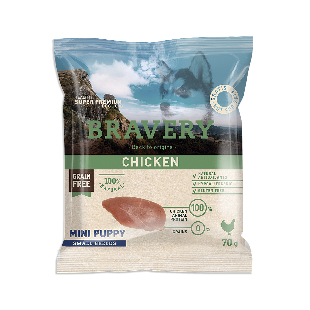 Bravery Grain Free MINI PUPPY Kibble CHICKEN - SAMPLE 70g