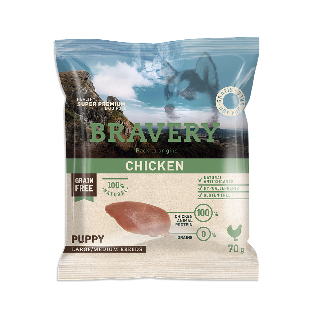 Bravery Grain Free PUPPY Kibble CHICKEN - SAMPLE 70g