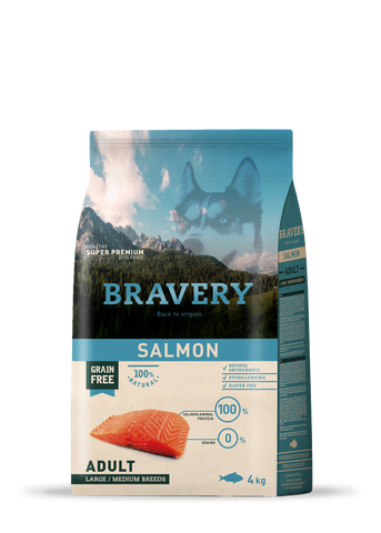 Bravery Grain Free Adult Dog Kibble Salmon 4kg