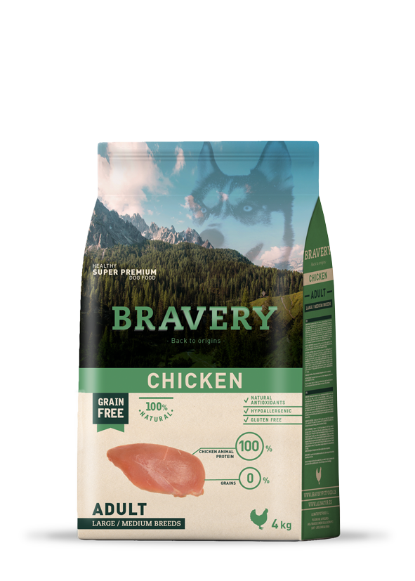 Bravery Grain Free Adult Dog Kibble - Chicken 4kg