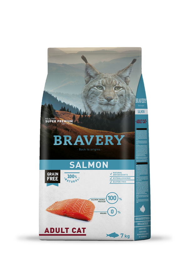 Bravery Grain Free Adult Cat Kibble Salmon 7kg
