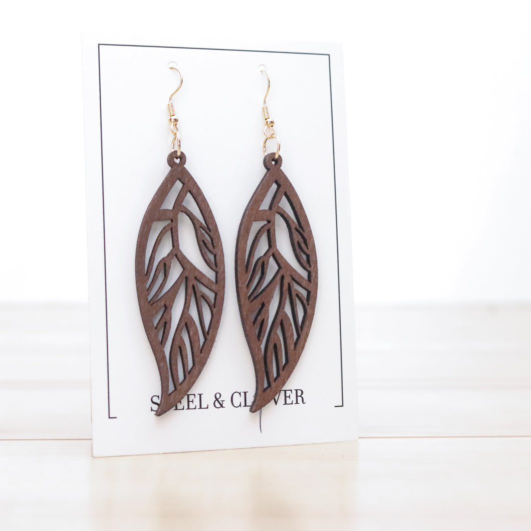 Willow Modern Chic Wooden Leaf Earring, Brown