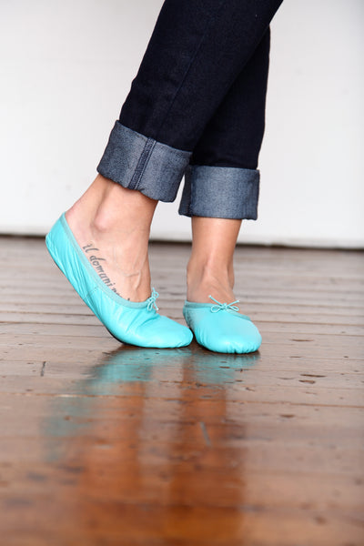 Leather Light Blue Ballet Flats