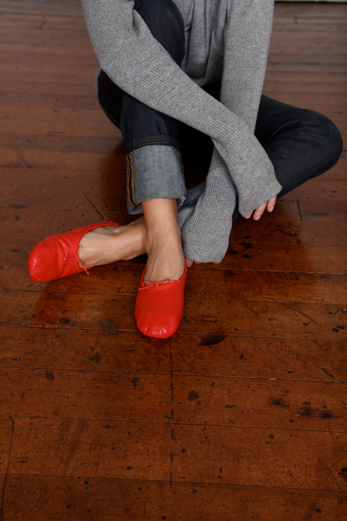 Leather Cloth Red Shoes