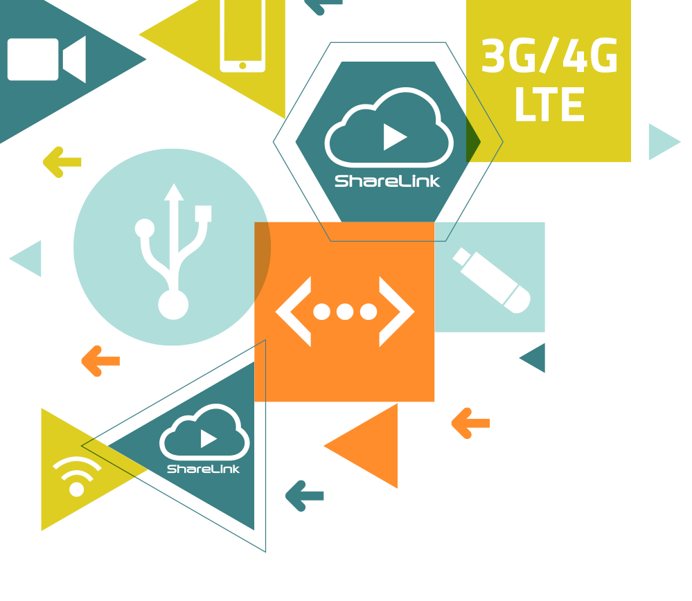 ShareLink Logo bringing USB Modems, Internet Cloud, 3G/4G LTE technology together