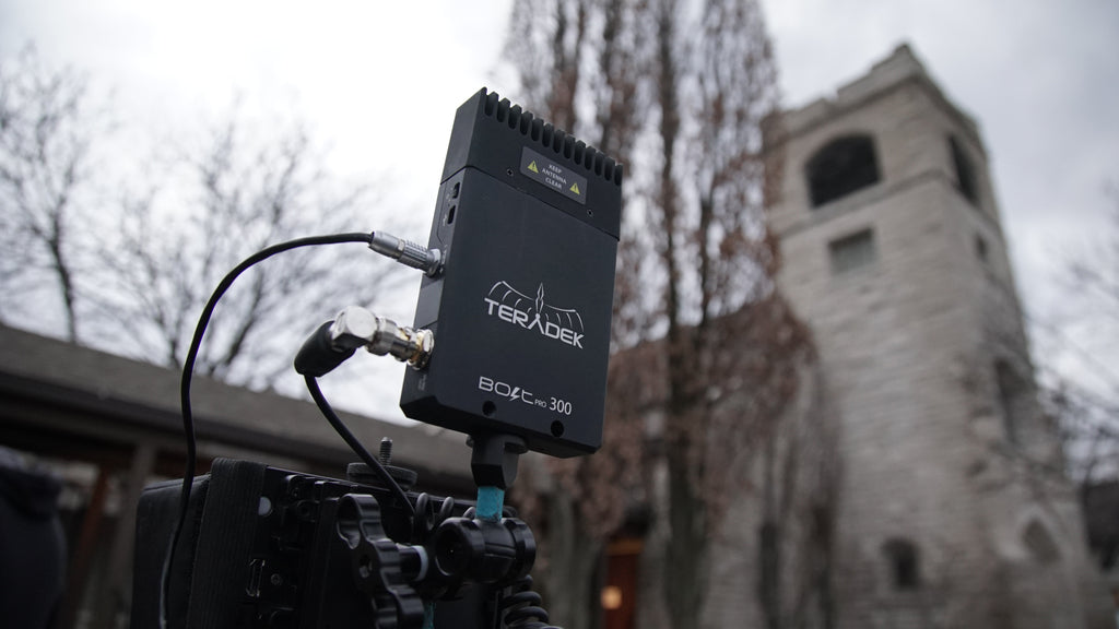 The Good Catholic filming workflow at old church with Teradek Bolt wireless monitoring