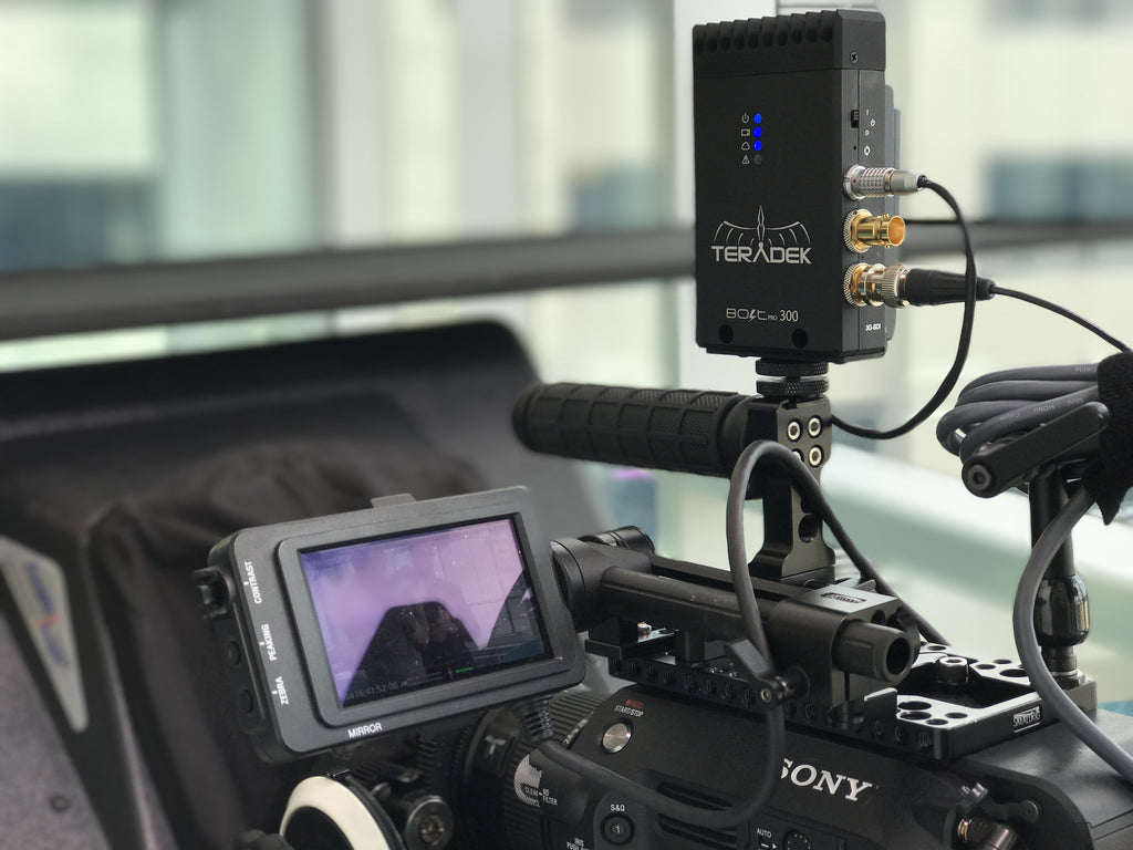 Teradek Bolt mounted to Sony FS7