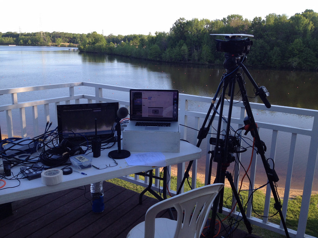 US Rowing live stream equipment at finish line using laptop with Wirecast.