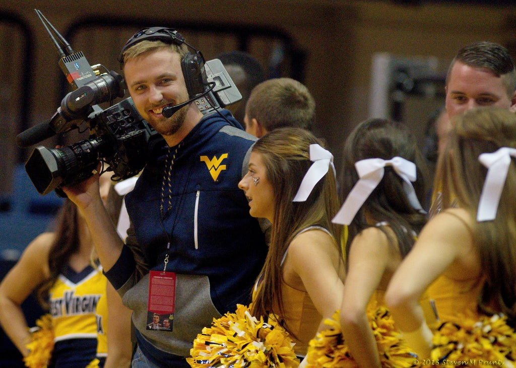 Kyle Monroe of West Virginia University preparing to shoot with Teradek Bolt
