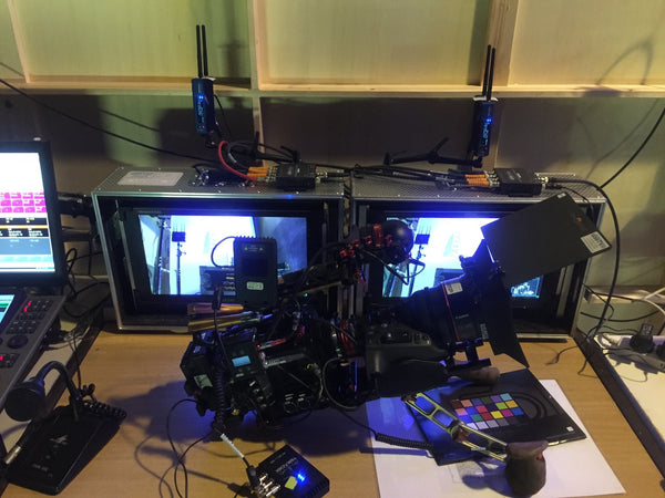 Sony FS5 cinema camera with Teradek Serv Pro on set