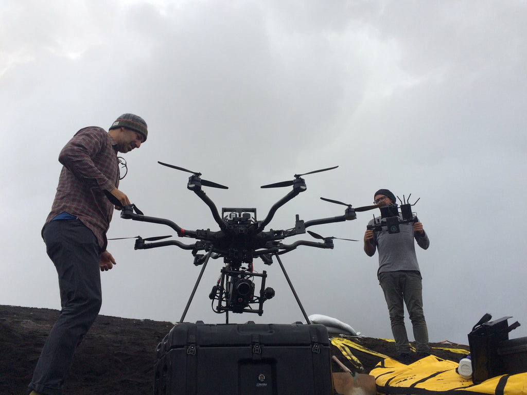 Daniel Green and crew preparing Alta 8 drone for shooting.